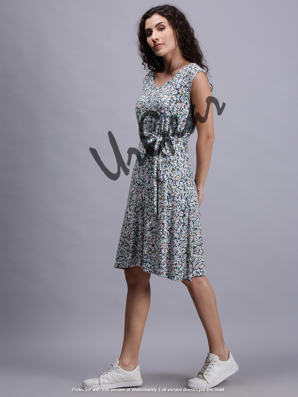Women Blue Floral Dress