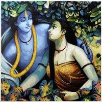 Krishna Radha  Abstract Paintng