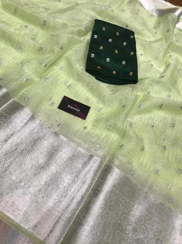 Kesar Pista Pure Organza Kanchi Silk Saree