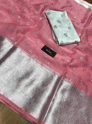Light Pink Pure Organza Kanchi Silk Saree