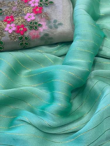 Chiffon Shimmer Zari Saree