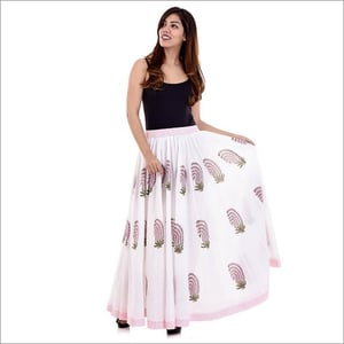 Ladies Hand Block Printed Cotton Skirt