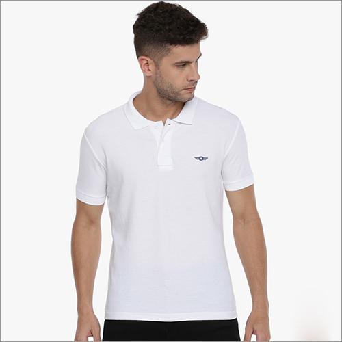 Mens White Collar T Shirt