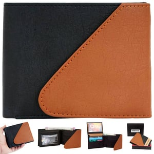 Wallet For Men Tan-Black Snap Lock PU Leather Gents Purse