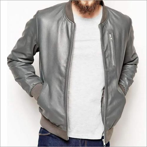 Mens Grey Leather Jacket