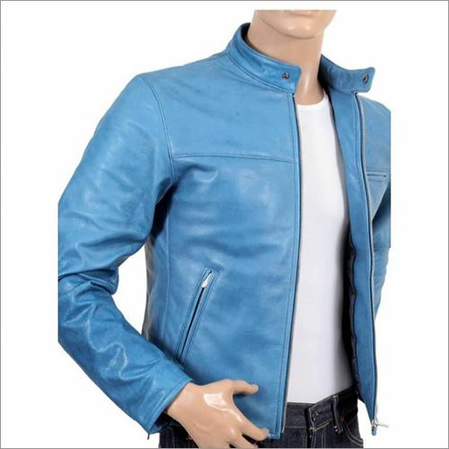 Mens Sky Blue Leather Jacket