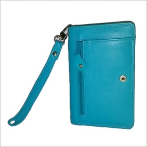Ladies Sky Blue Leather Pouch