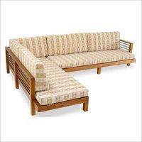 L Shaped Wooden Sofa Set