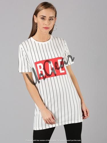 White Womens Round Neck T-Shirt