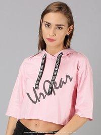 Womens Trendy Hooded Pink Crop Top