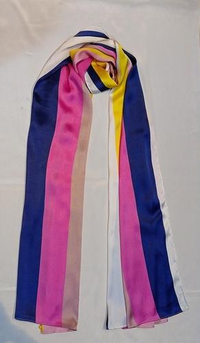 Pink Nd White Mix Satin Printed Scarves