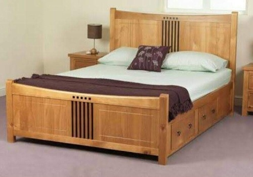 Queen/King Size Wooden Cot Bed With  Top Lifting & 2 Drawers (Solid Wood)