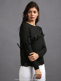 Women Black Laced Solid Top