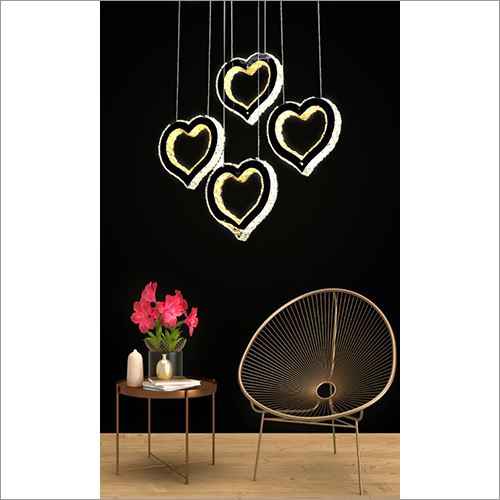 Four Heart Crystal Voice Assist Chandelier
