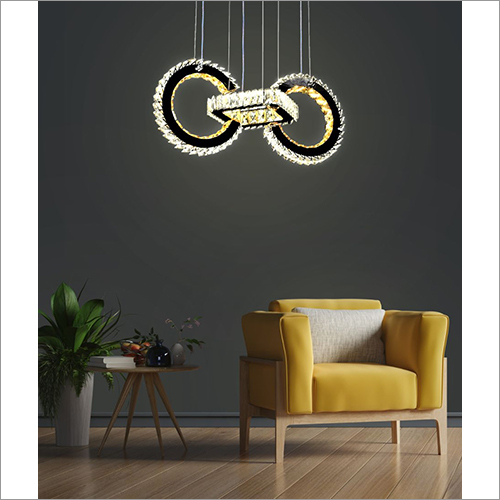 Two Round Crystal Voice Assist Chandelier