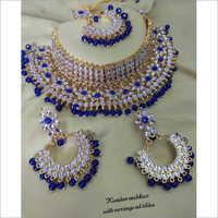 Beautiful Royal Blue Heavy Necklace Set With Maang Tikka Bridal Jewelry Set