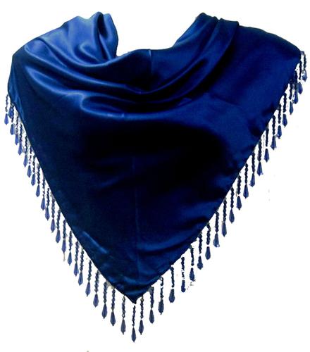 Blue Fancy Fringes Solid Triangle Scarves