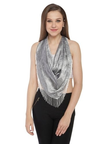 As Per Pic Digital Printed Scarves With Beaded Fringes Scarves