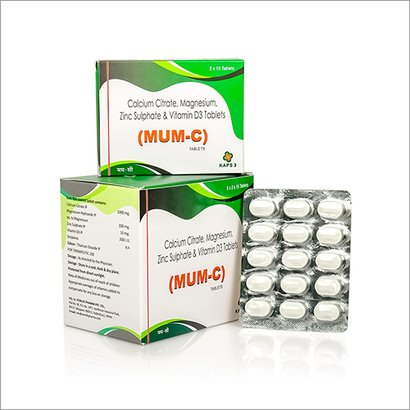Calcium Citrate, Magnesium, Zinc Sulphate And Vitamin D3 Tablets