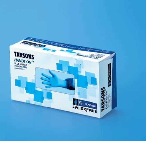 Tarsons 370100 Hands On Nitrile Examination Gloves 9.5a   Length