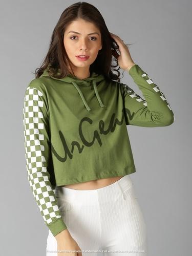 Green Womens Trendy Hooded T-Shirt
