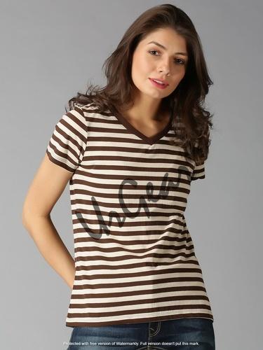 Brown & Off White Women Round Neck T-Shirt
