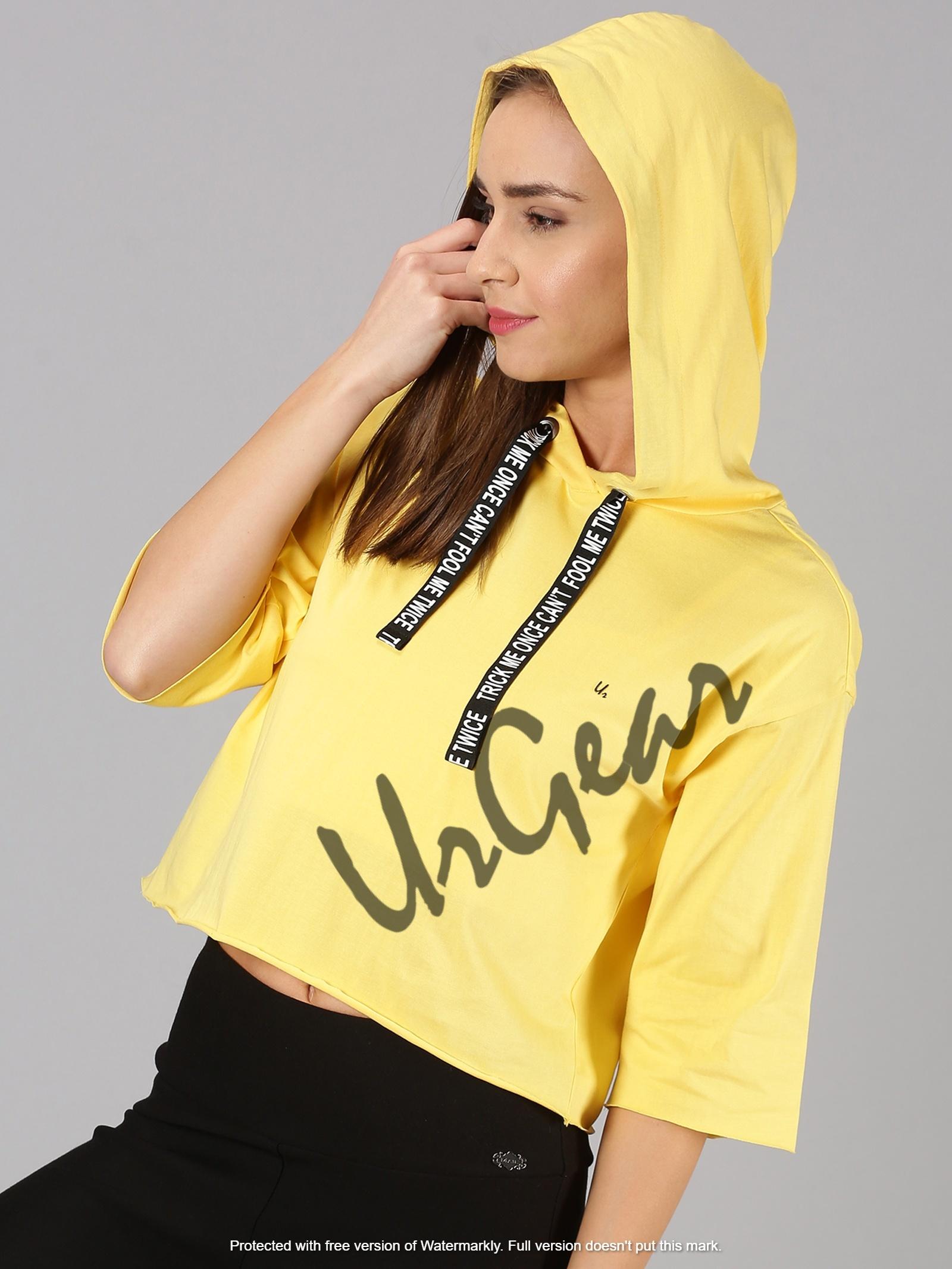 Womens Trendy Hooded Yellow Crop Top