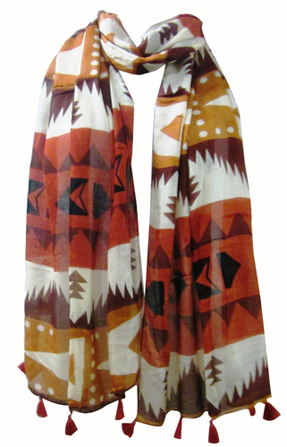 Poly Voile Printed Fringes Scarves