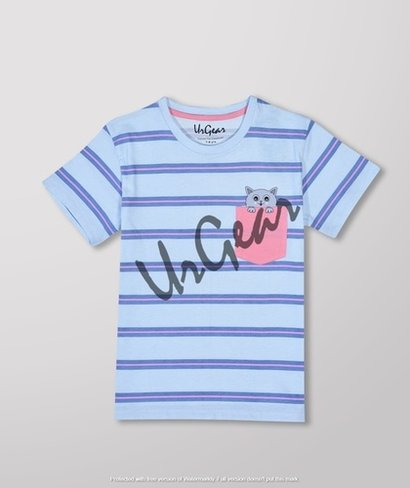Kids Printed Blue Line T-Shirt Age Group: 3 To 10 Years