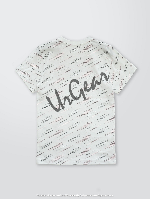 Kids Printed White Line T-Shirt