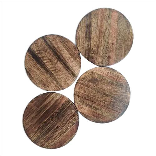 Set Of 4 Mango Wood Table Coasters