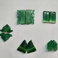 Natural Green Oynx Carvings Set For Jewellery