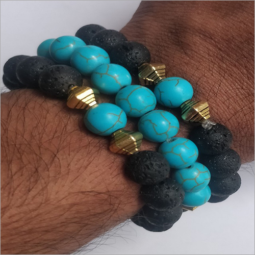 Couple Bracelet With Lava And Turquoise