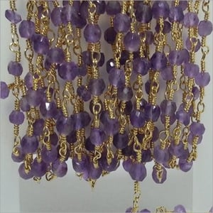 Natural Amethyst Faceted Rondelle Beads Gold Plated Rosary chain