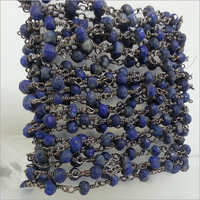 Natural Lapis Faceted Rondelle Beads Rosary chain