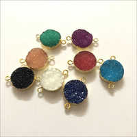 10mm Multi Color Agate Druzy Round Gold Electroplated Connector