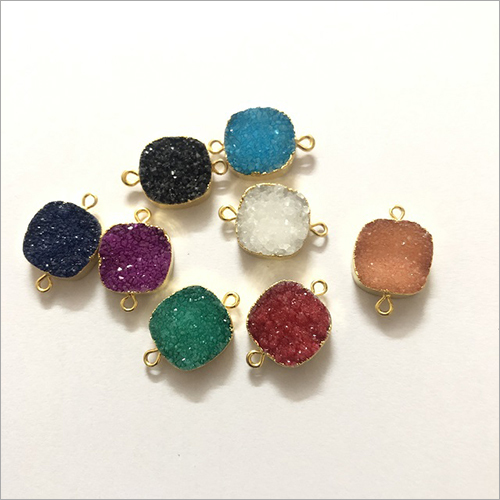 16mm Multi Color Agate Druzy Cushion Gold Electroplated Connector