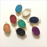 8x10mm Multi Color Agate Druzy Oval Gold Electroplated Connector