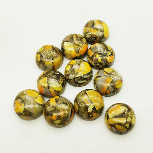 12mm Bumble Bee Copper Turquoise Calibrated Round Cabochon