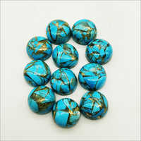 12mm Blue Copper Turquoise Calibrated Round Cabochon