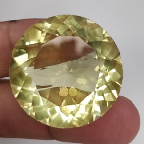 Natural Lemon Quartz Round Faceted Loose Gemstone