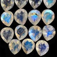 Natural Rainbow Moonstone Faceted Heart Cut Gemstone