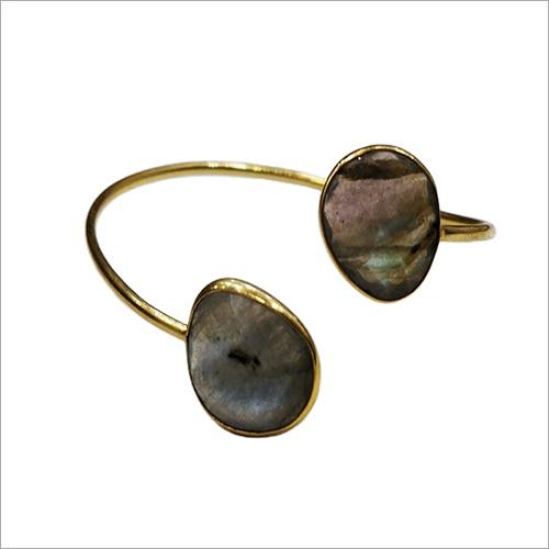 Natural Labradorite Brass Bangle