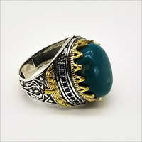 Trendy 925 Sterling Silver Turkish Ring In Turquoise Stone