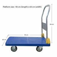 Platform Trolley Portable Dolly Cart 300 Kg Capacity, Blue , 5