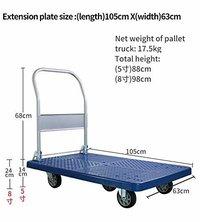 Platform Trolley Portable Dolly Cart 500 Kg Capacity, Blue , 5