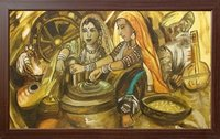Indian Village Theme Canvas Painting