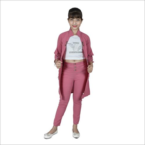 Girl Pink Knee Length Shrug With 3 Piece