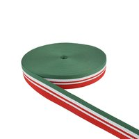 40 Mm Double Color Niwar Tapes Ss 4146 P. Green Pantone 17-6153 Tpg Fem Green, White & Red