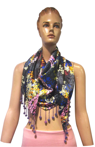 Satin Solid Triangle  with beaded fringes  Scarves
